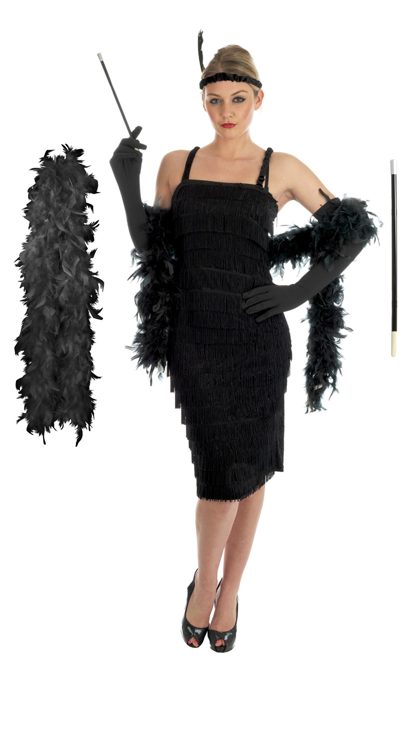 Ladies-1920s-Flapper-Costume-Gloves-Holder-Boa-Womens-Fancy-Dress-Inc-Plus-Size