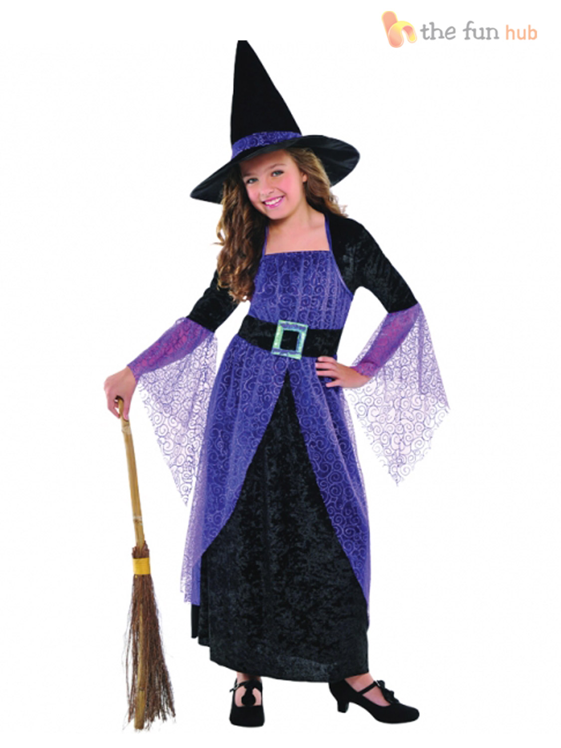 Girls Halloween Witch Fancy Dress Costume Kids Childrens Party ...