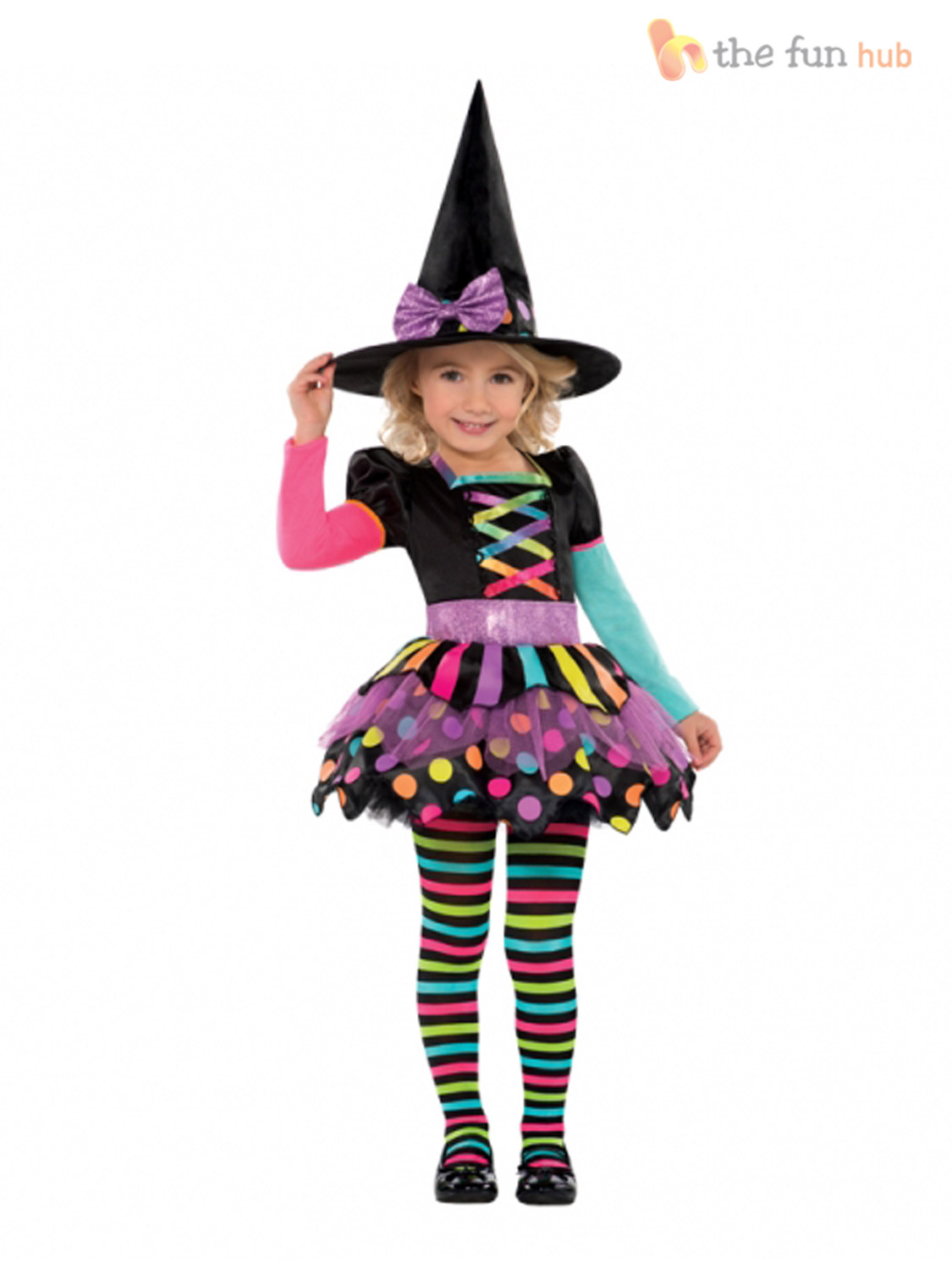 Age 3-10 Girls Halloween Witch Fancy Dress Costume Kids Childrens Party Witches