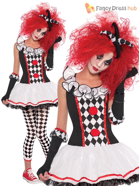 ladies harlequin jester costume wig halloween circus womens - Halloween Costumes Harlequin