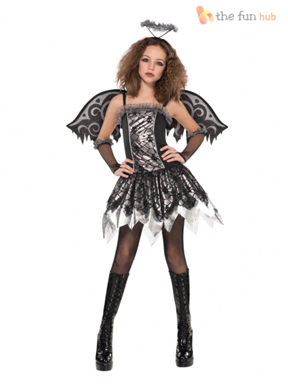 Age 12- 16 Teen Fallen Angel Costume, Wings + Tights Girls ...