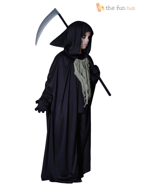 Boys-Grim-Reaper-Costume-Kids-Halloween-Fancy-Dress-  sc 1 st  eBay & Boys Grim Reaper Costume Kids Halloween Fancy Dress Childrens Horror ...