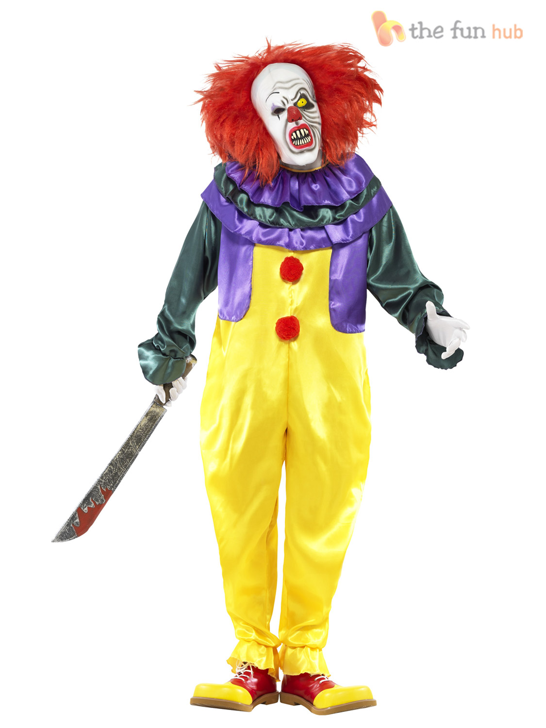 Mens Scary Clown Costume + Mask Halloween Evil Sinister Circus ...