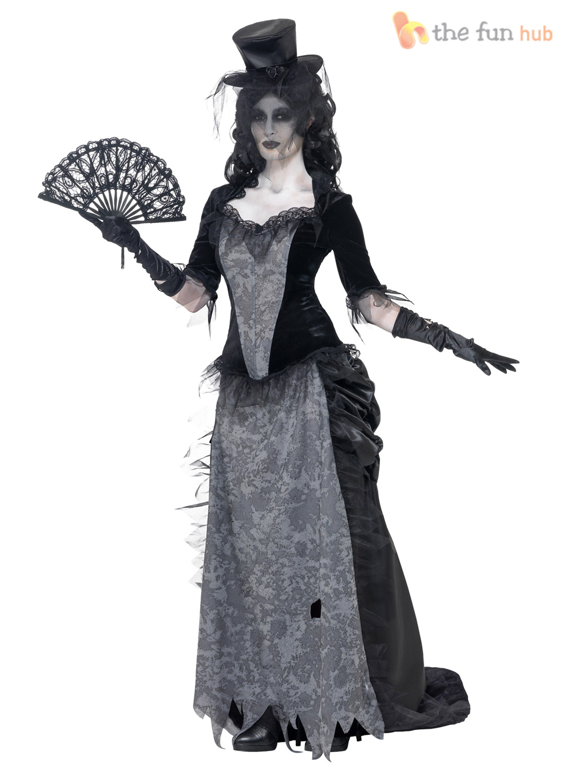 ladies ghostly black widow costume zombie ladies halloween fancy dress outfit. Black Bedroom Furniture Sets. Home Design Ideas
