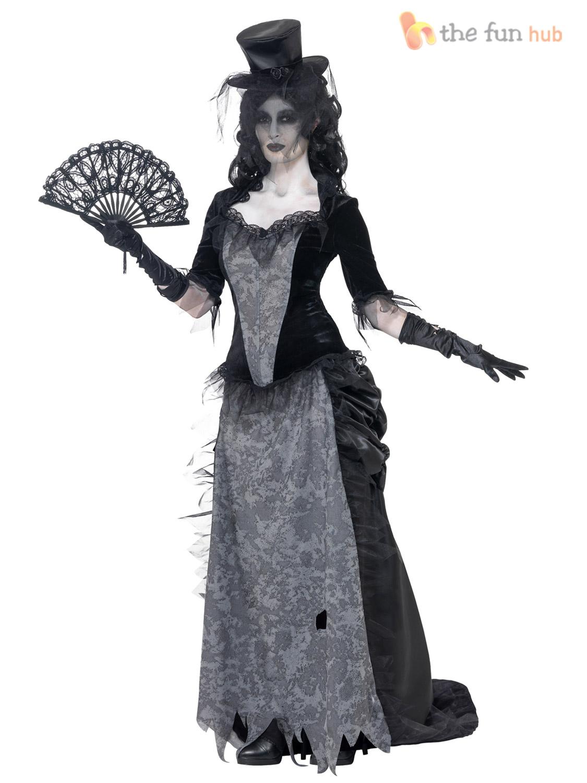 ladies ghostly black widow costume zombie ladies halloween. Black Bedroom Furniture Sets. Home Design Ideas