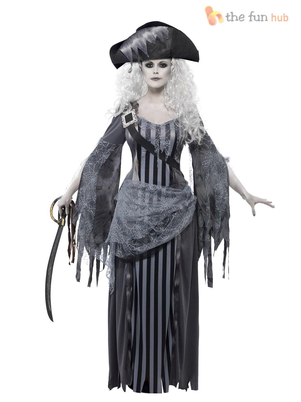 Ladies Zombie Pirate Costume Ghost Ship Womens Halloween Fancy ...