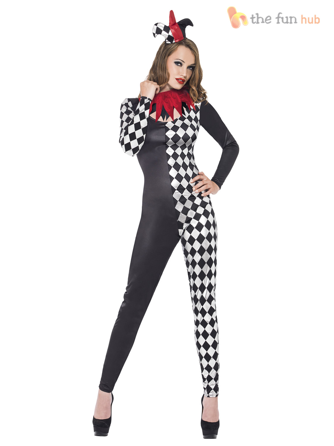 ladies sexy zombie clown harlequin jester halloween costume womens circus outfit ebay. Black Bedroom Furniture Sets. Home Design Ideas
