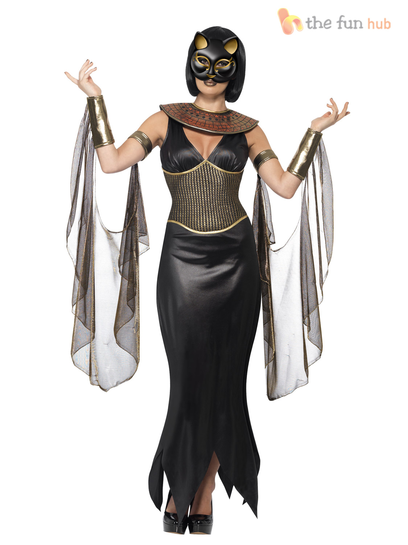 Mens Ladies Egyptian Goddess God Halloween Wild Dog Fancy Dress Couples Costume