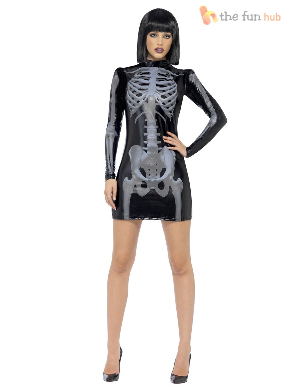 Size 4-18 Fever Sexy Skeleton Ladies Fancy Dress Costume X Ray Womens Halloween