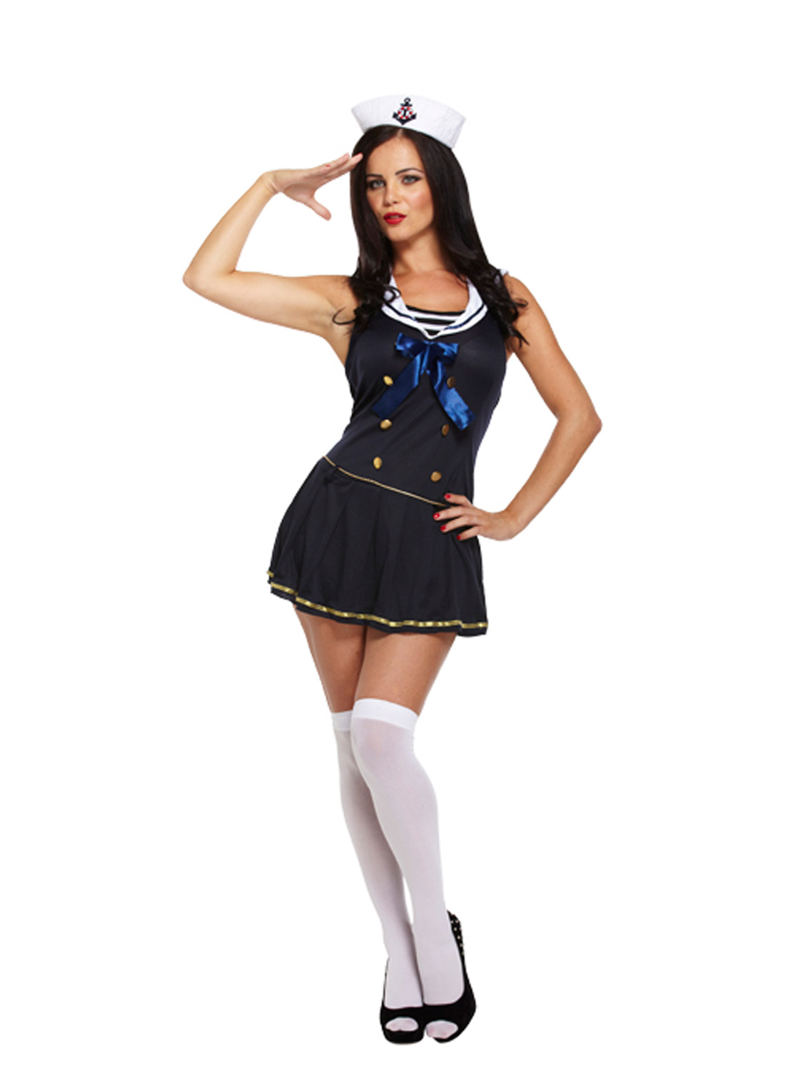 New WOMENS LADIES NAVY WHITE FANCY NURSES DRESS HEALTHCARE MAID UNIFORM