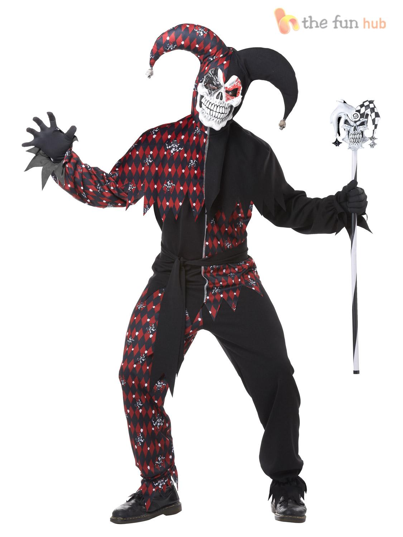 Deluxe Mens Evil Jester Costume Halloween Fancy Dress Scary Killer ...