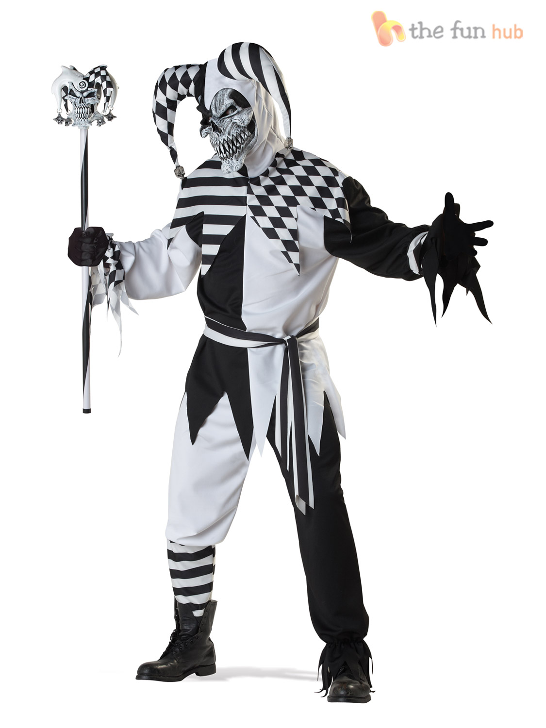 Mens-Adult-Evil-Jester-Halloween-Fancy-Dress-Costume-Scary-Medieval-Joker-Outfit