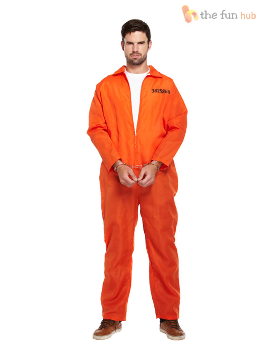 PRISONER CONVICT JUMPSUIT HANDCUFFS PRISON BREAK BOILER SUIT FANCY ...