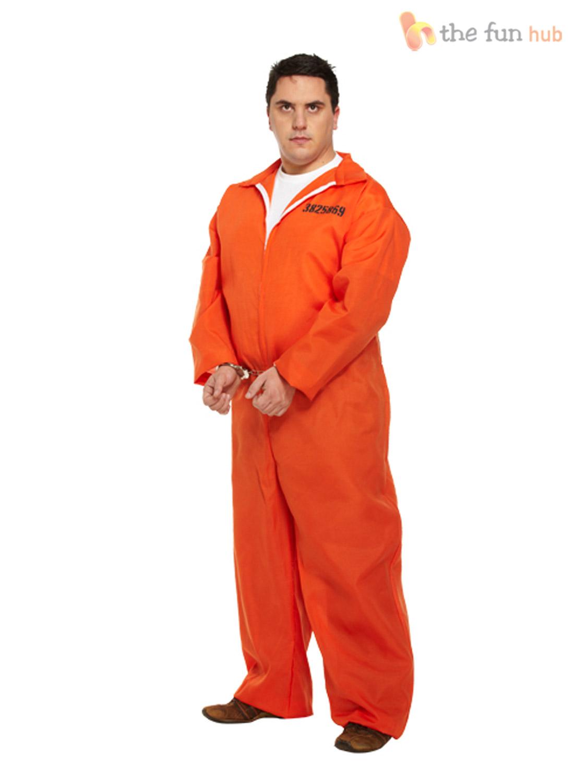 Mens Prisoner Costume   Handcuffs Boiler Suit Convict Halloween ...