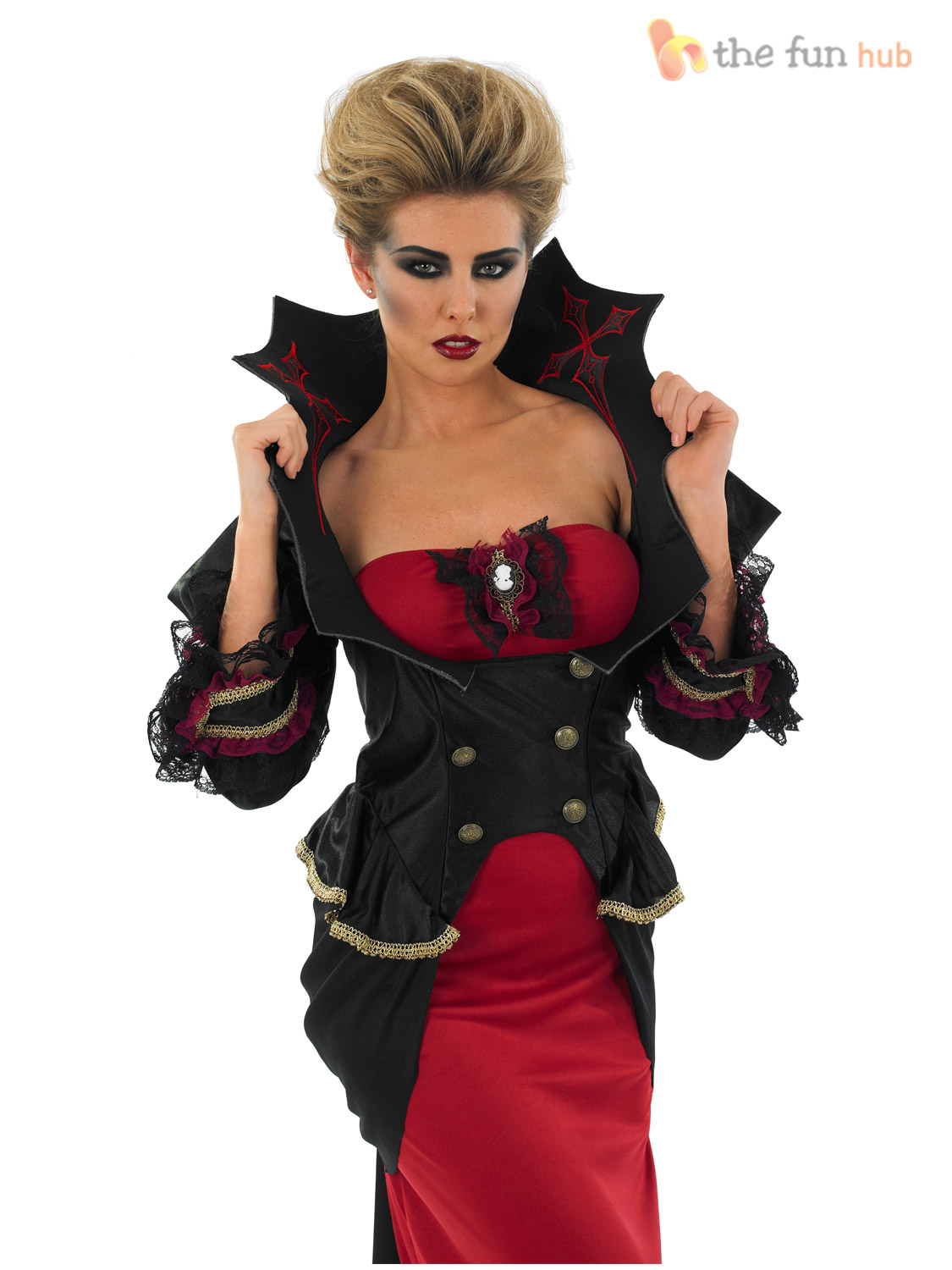Deluxe Ladies Vampire Costume Gothic Halloween Fancy Dress Womens ...