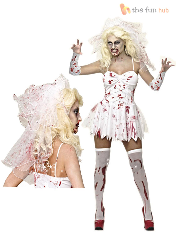 Talle 8 -20 Damas Sexy Zombie CADÁVER NOVIA Para Mujer Halloween ... 564e5ef0abd3