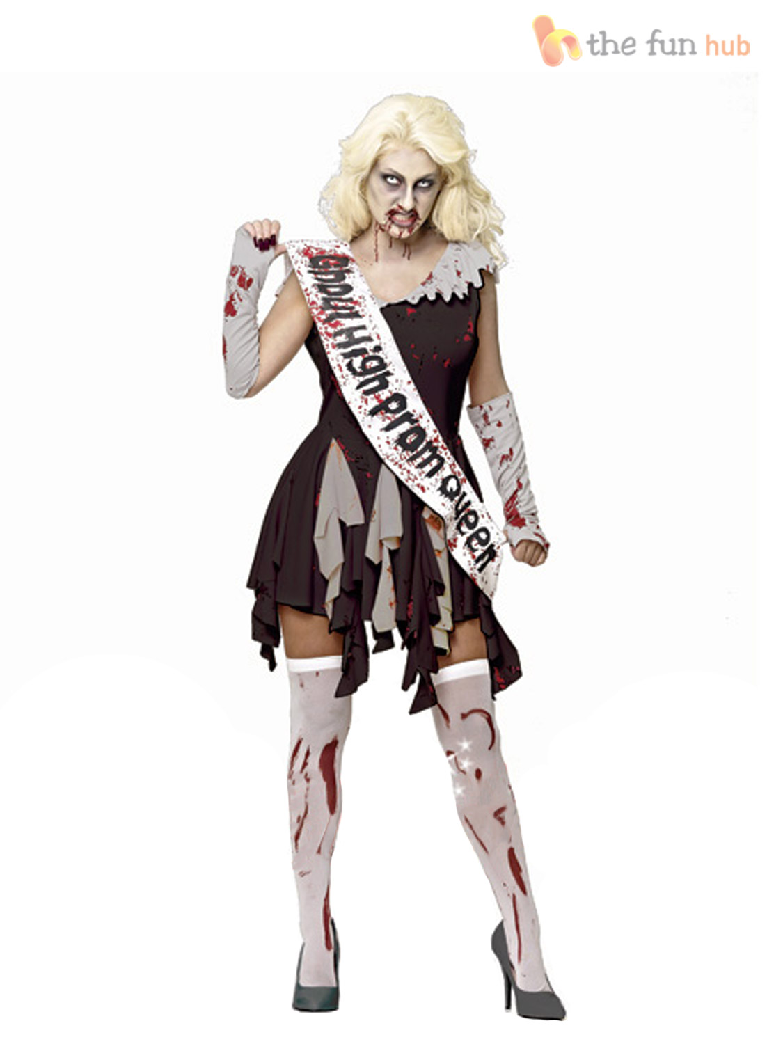 Adulte femmes zombie school prom queen costume womens - Halloween adulte ...
