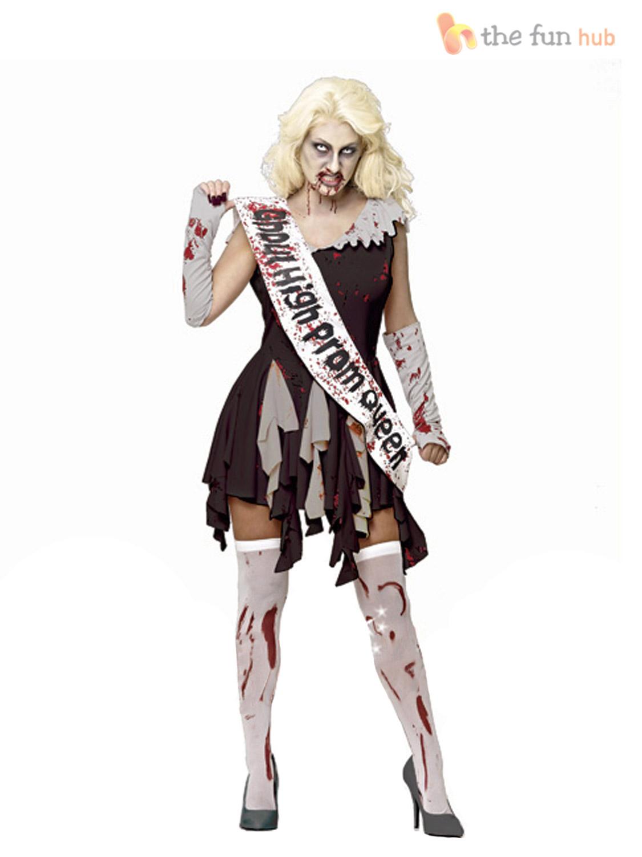 adult ladies zombie school prom queen costume womens. Black Bedroom Furniture Sets. Home Design Ideas