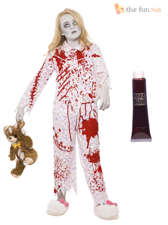 age 7-15 girls zombie costumes + blood halloween fancy dress party