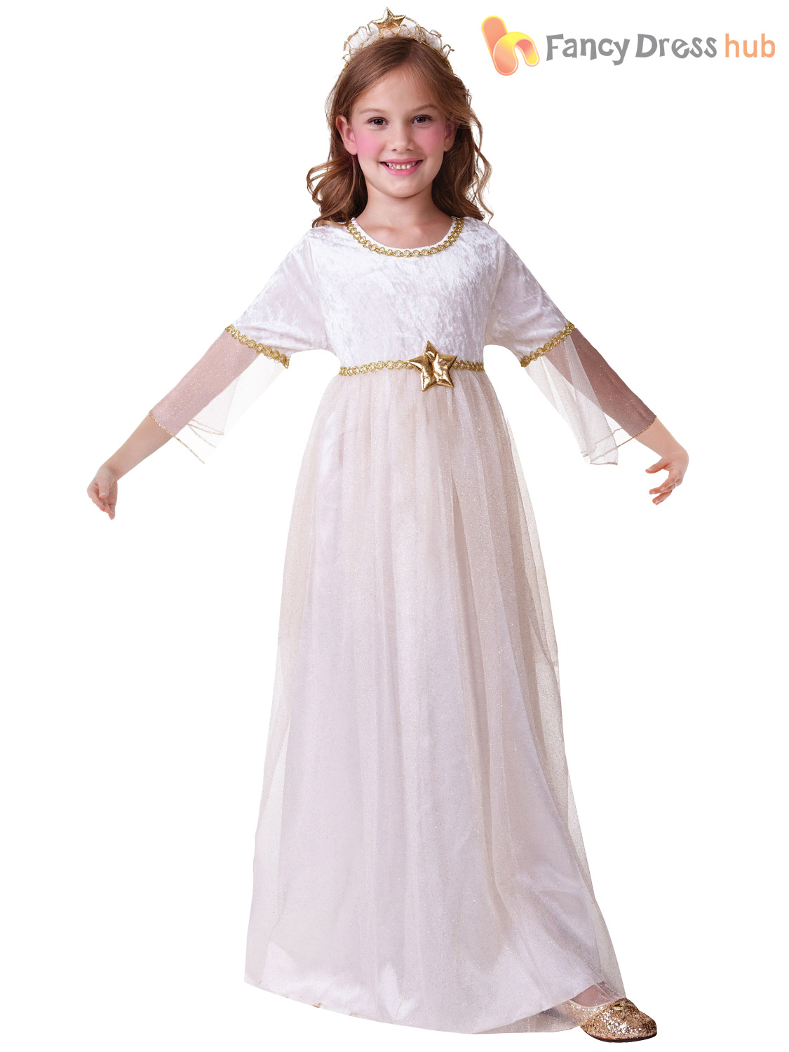 Girls Christmas Angel Costume Nativity Fancy Dress Outfit Childrens Kids White | eBay