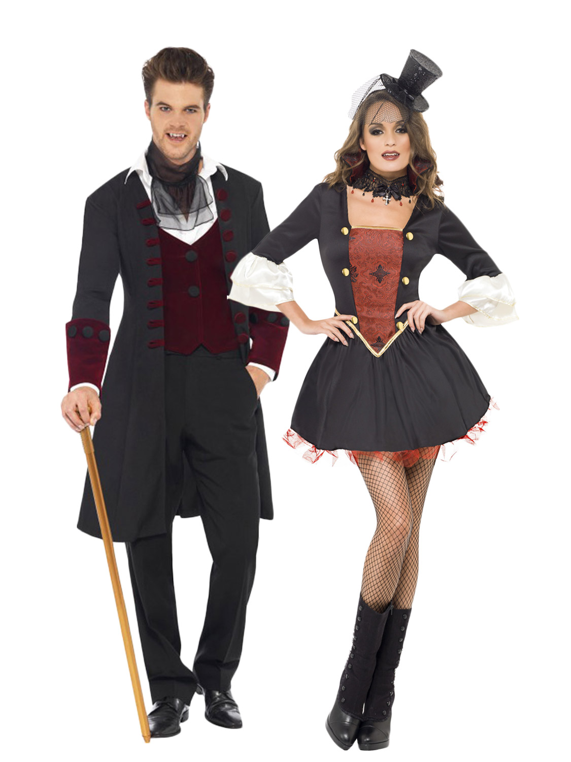 Mens +Ladies Gothic Vampire Dracula Costume Adult Couples ...