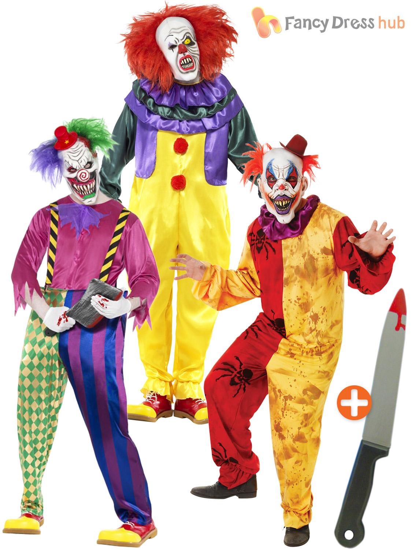 Mens Scary Killer Clown Costume, Mask + Knife Adult Halloween ...