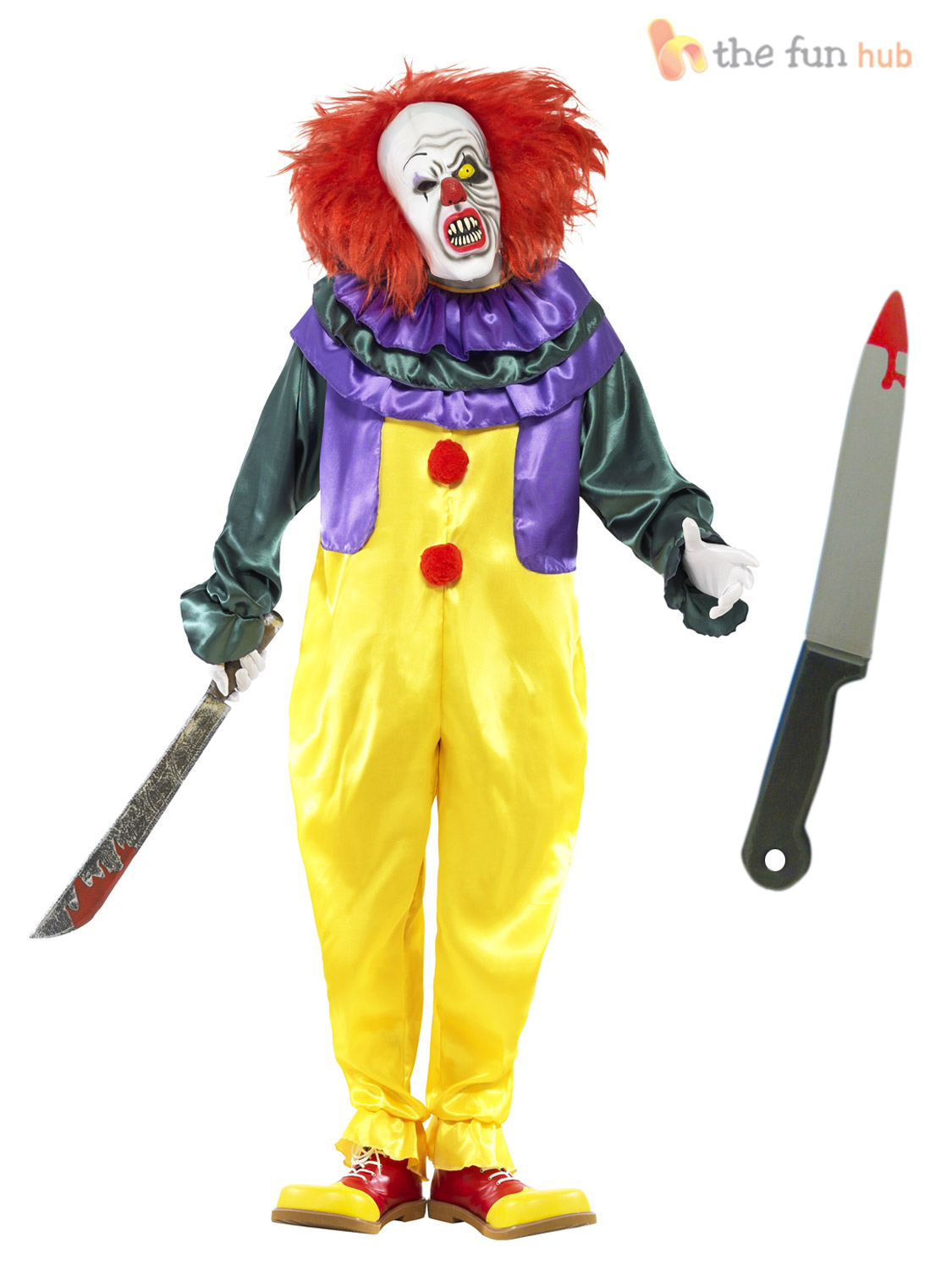 Mens Scary Killer Clown Costume, Mask + Knife Adult Halloween ...