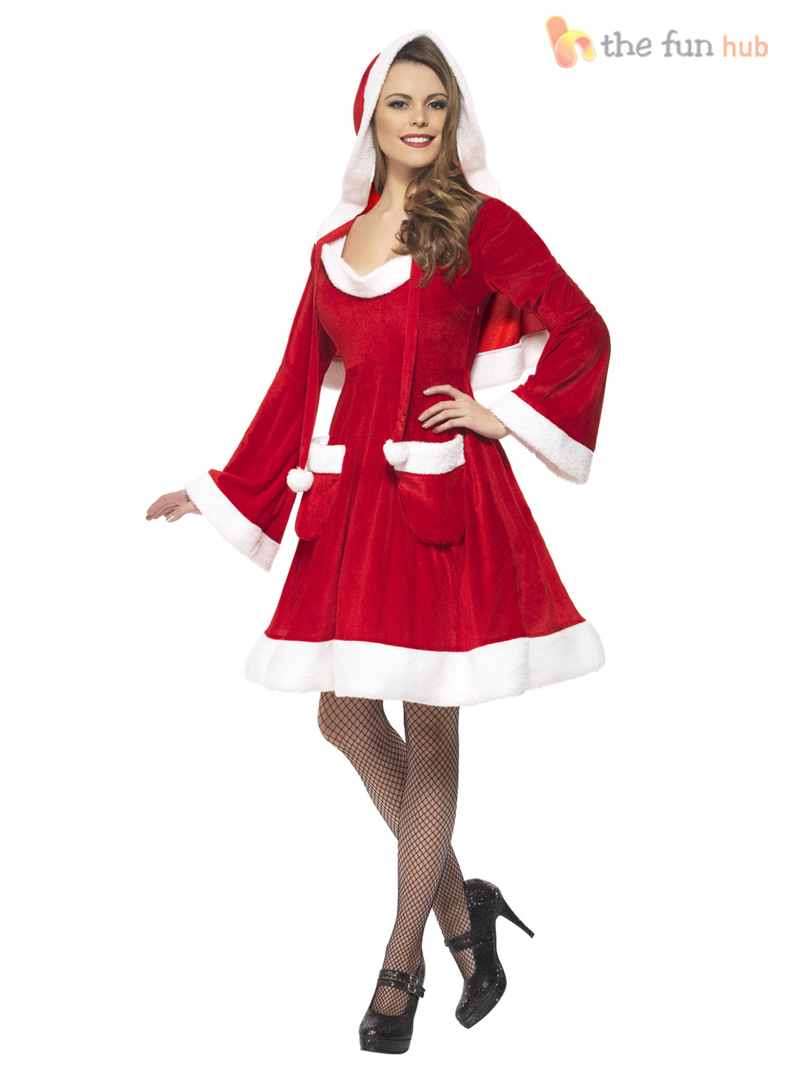 Size 8-22 Adult Ladies Miss Santa Costume Womens Christmas Fancy ...