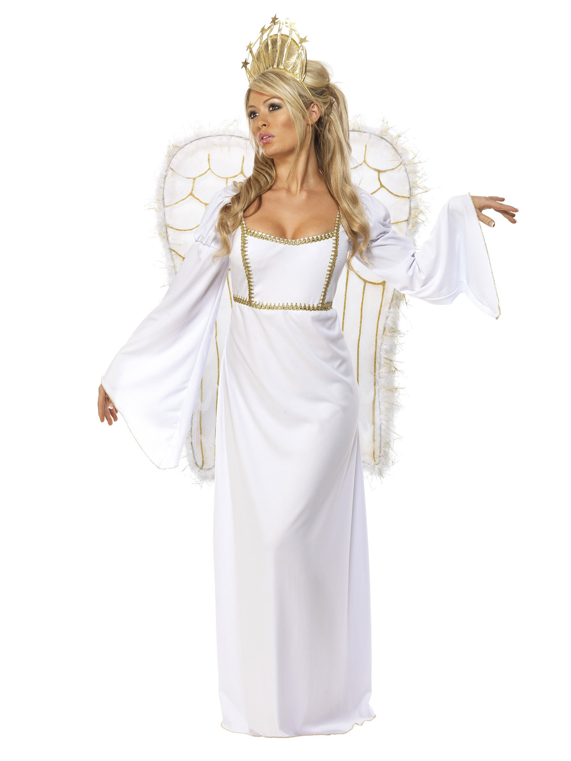 Adult Ladies Deluxe Angel Costume +Wings Womens Christmas Fancy Dress Outfit