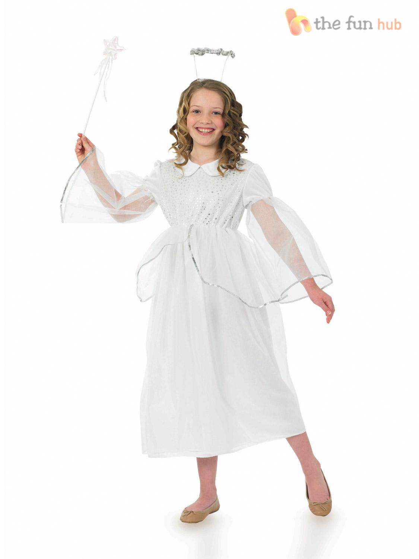 girls angel costume halo wand white christmas fairy - White Christmas Costumes