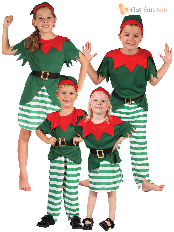 Age 2 12 Kids Elf Costume Boys Girls Christmas Fancy