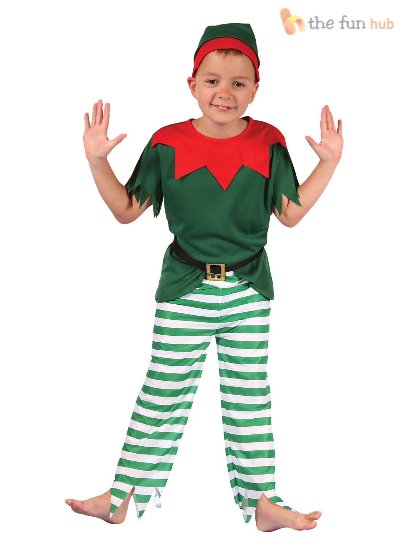 Age 2- 12 Kids Elf Costume Boys Girls Christmas Fancy Dress Santa ...