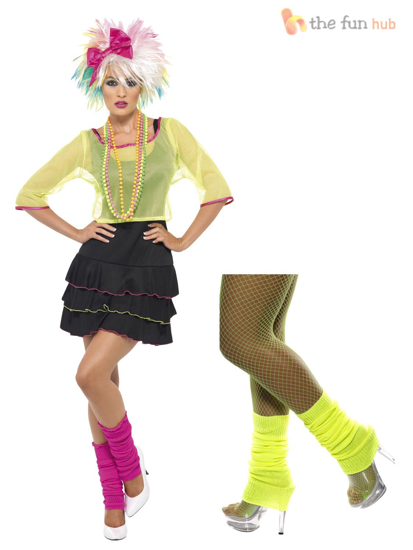 Ladies 80s Retro Fancy Dress Madonna Olivia Fame Outfit Neon Rave Disco Costume | eBay
