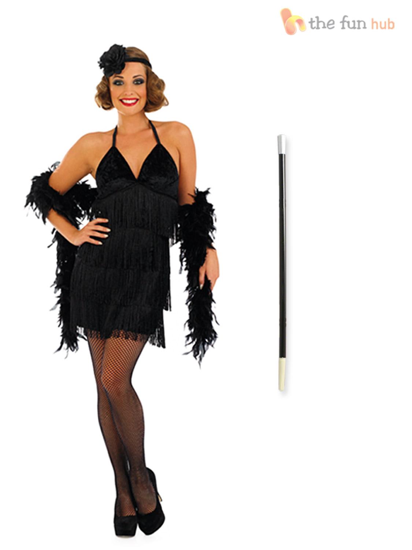 Womens 1920s flapper dress fancy dress costume adult flapper dress - Ladies 1920s Flapper Costume Holder Gloves Womens 20