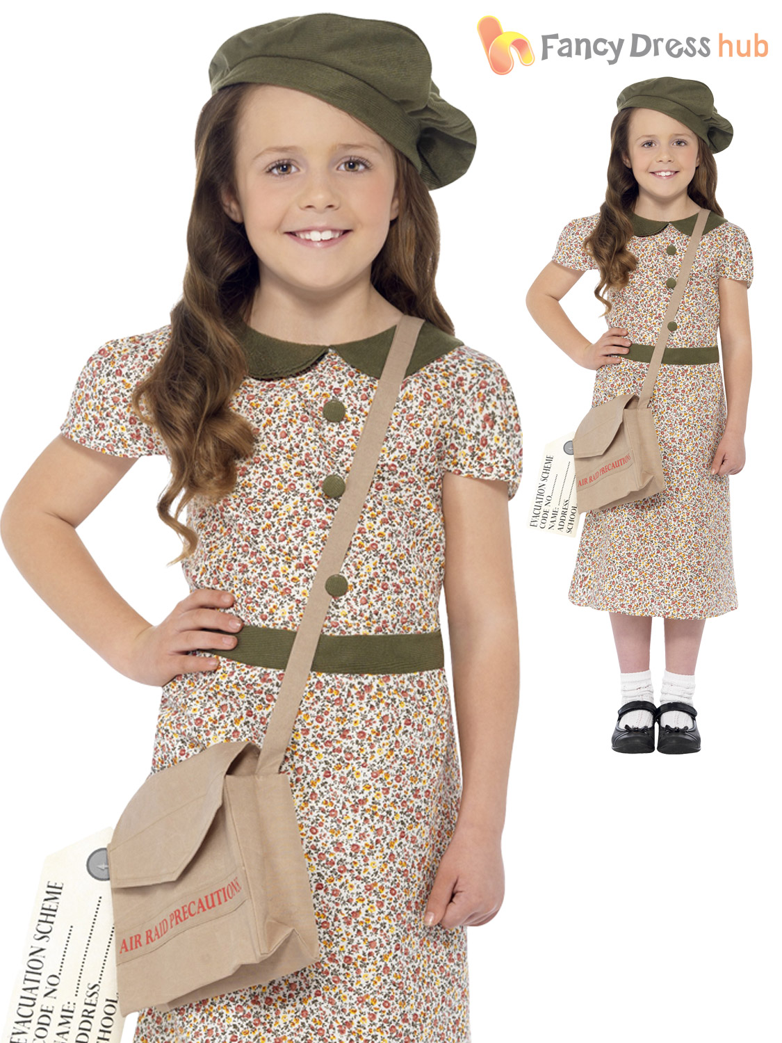 Girls 1940s WW2 Evacuee Costume World War Two VE 40's Kids ...