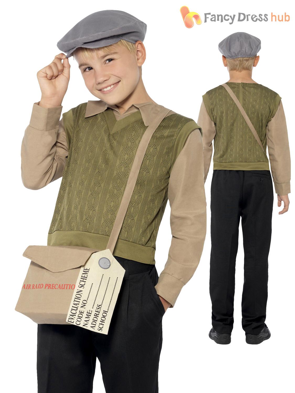 Boys 1940s WW2 Evacuee Costume World War 2 40's Kids Fancy ...