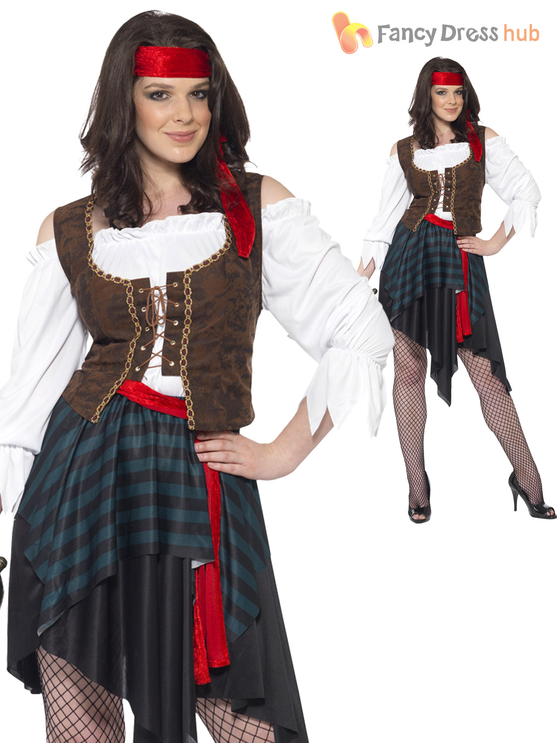caribbean pirate ladies fancy dress captain buccaneer womens - Size 26 Halloween Costumes
