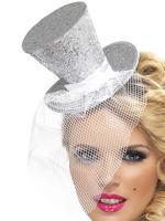 Ladies Silver Mini Top Hat on Headband