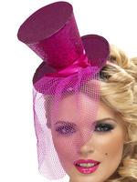 Ladies Pink Mini Top Hat on Headband