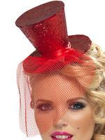 Ladies Red Mini Top Hat on Headband