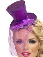 Ladies Purple Mini Top Hat on Headband