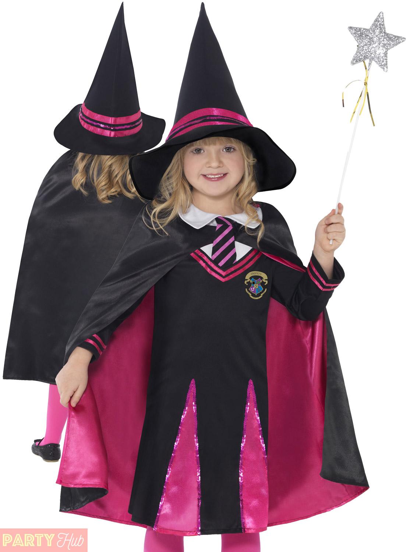 Girls Witch Schoolgirl Wizard Costume Cape + Hat Halloween Fancy ...