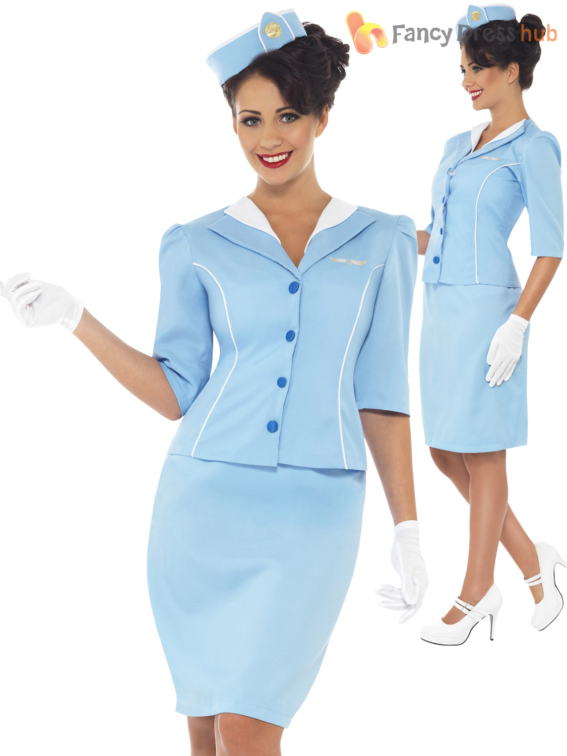Ladies-Air-Hostess-Costume-Stewardess-Cabin-Crew-Fancy-Dress-Uniform-Womens