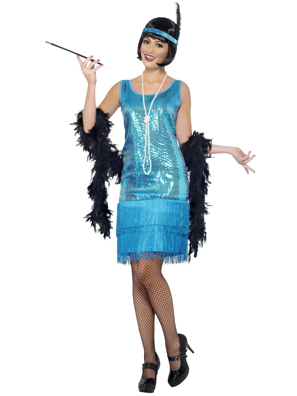 Ladies Flirty Flapper Costume Adults 1920s Charleston Fancy Dress Great Gatsby