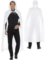 Adults White Cape With Hood Mens Ladies Halloween Fancy Dress Costume Accessory