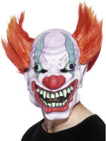 Clown Latex Mask with Red Hair