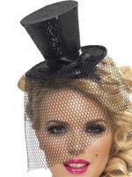 Ladies Black Mini Top Hat on Headband