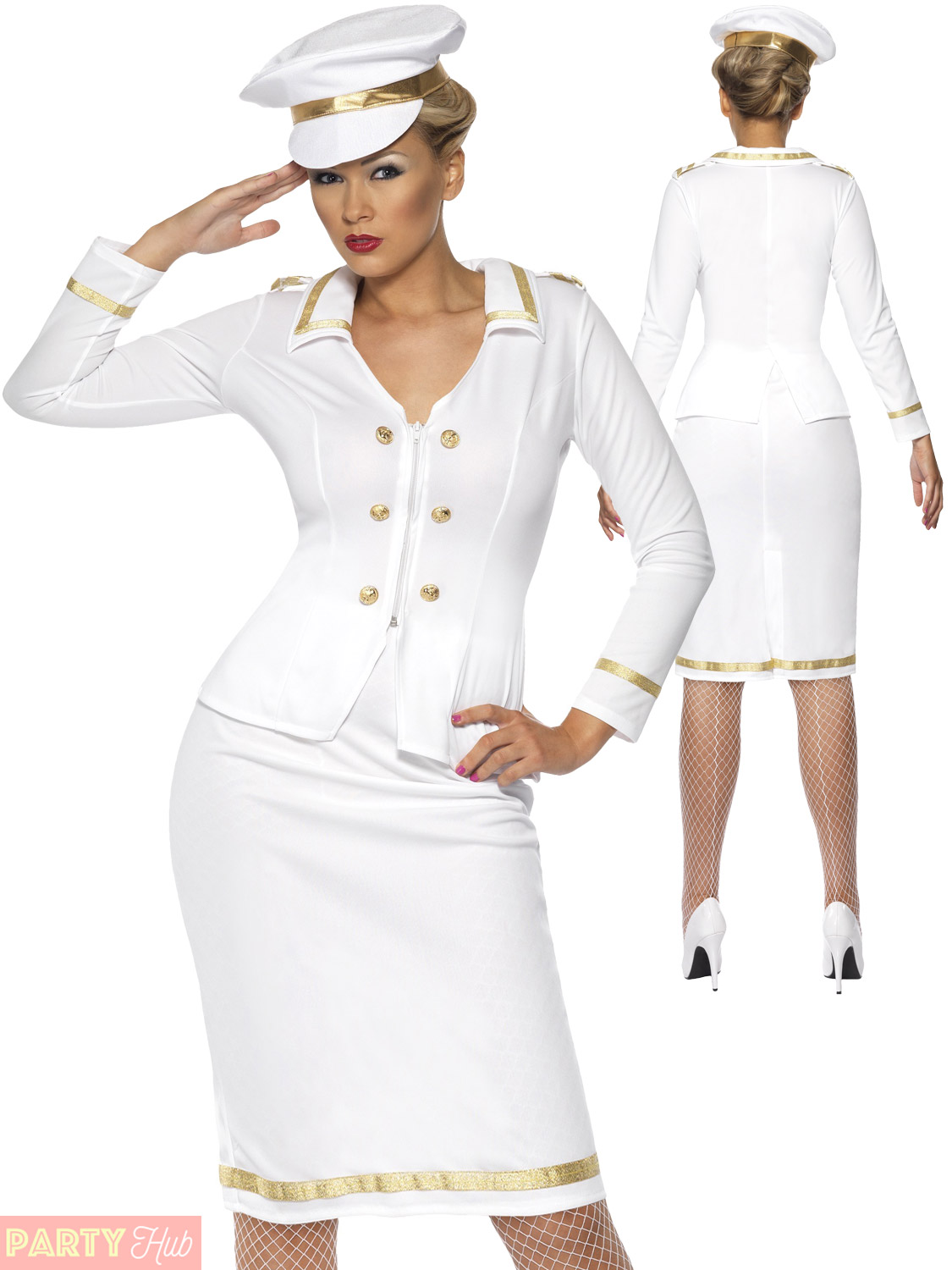 Ladies Officers Mate Costume Adult Sailor Navy Captain Fancy Dress Womens Outfit