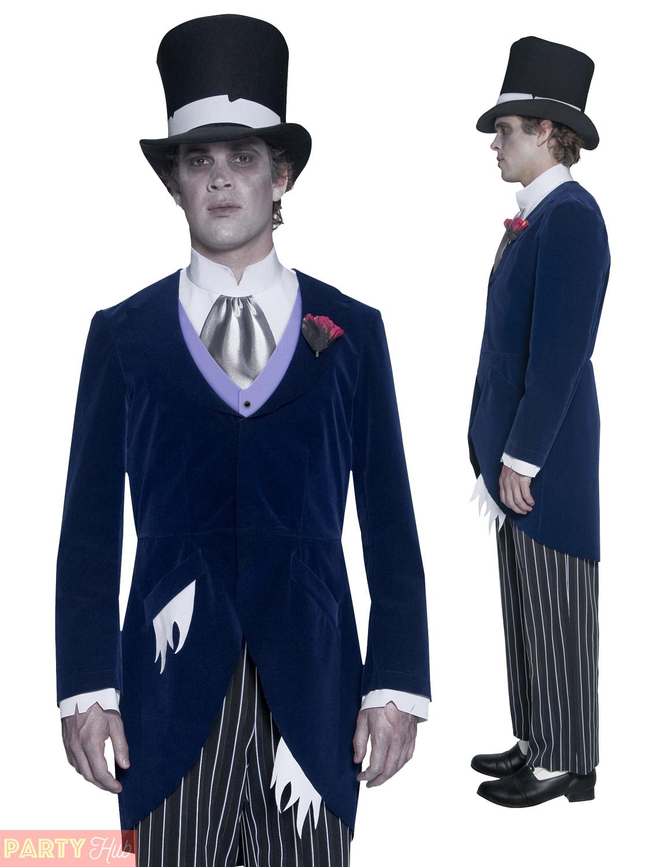Mens Zombie Corpse Groom Costume Halloween Fancy Dress Victorian Ghost Man