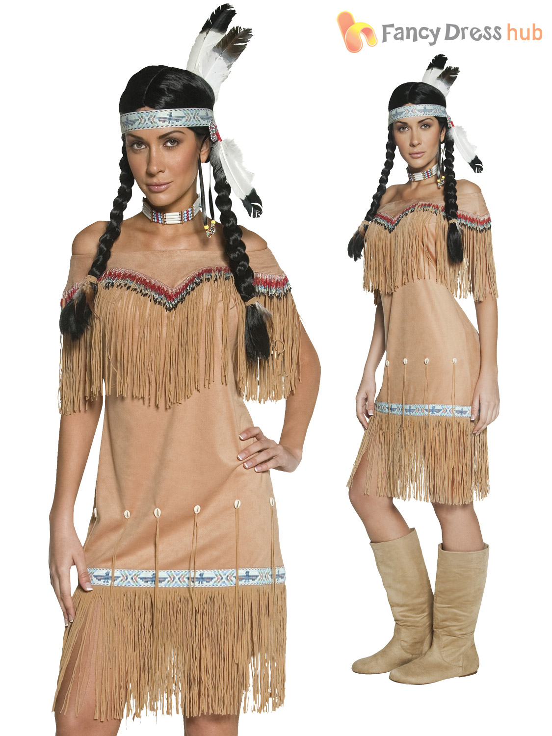 Adults Native Indian Costume Ladies Pocahontas Fancy Dress ...